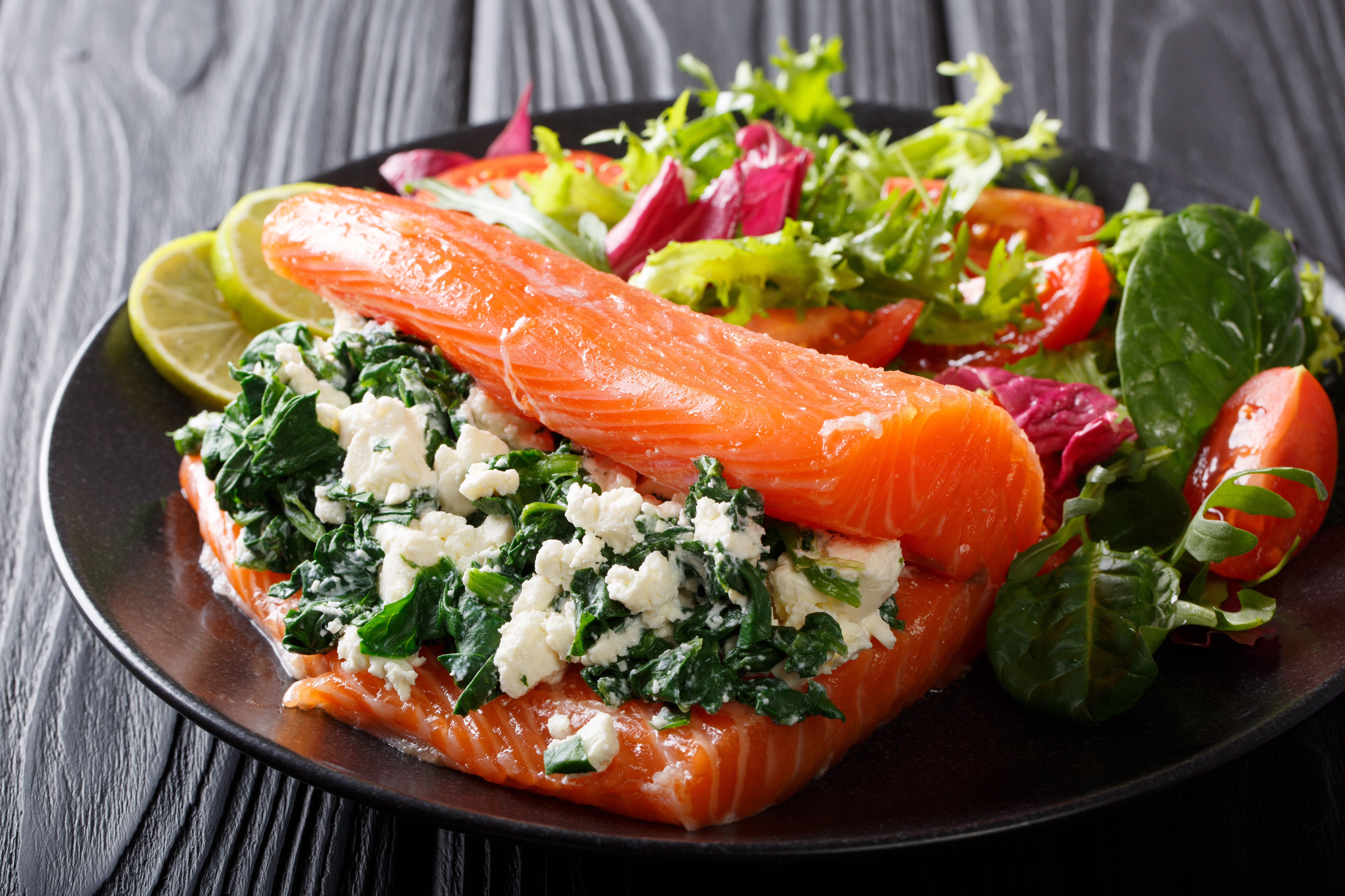 Sunday Lunch:  Salmon stuffed with spinach and feta