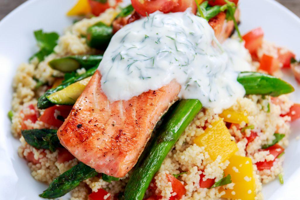Salmon couscous salad