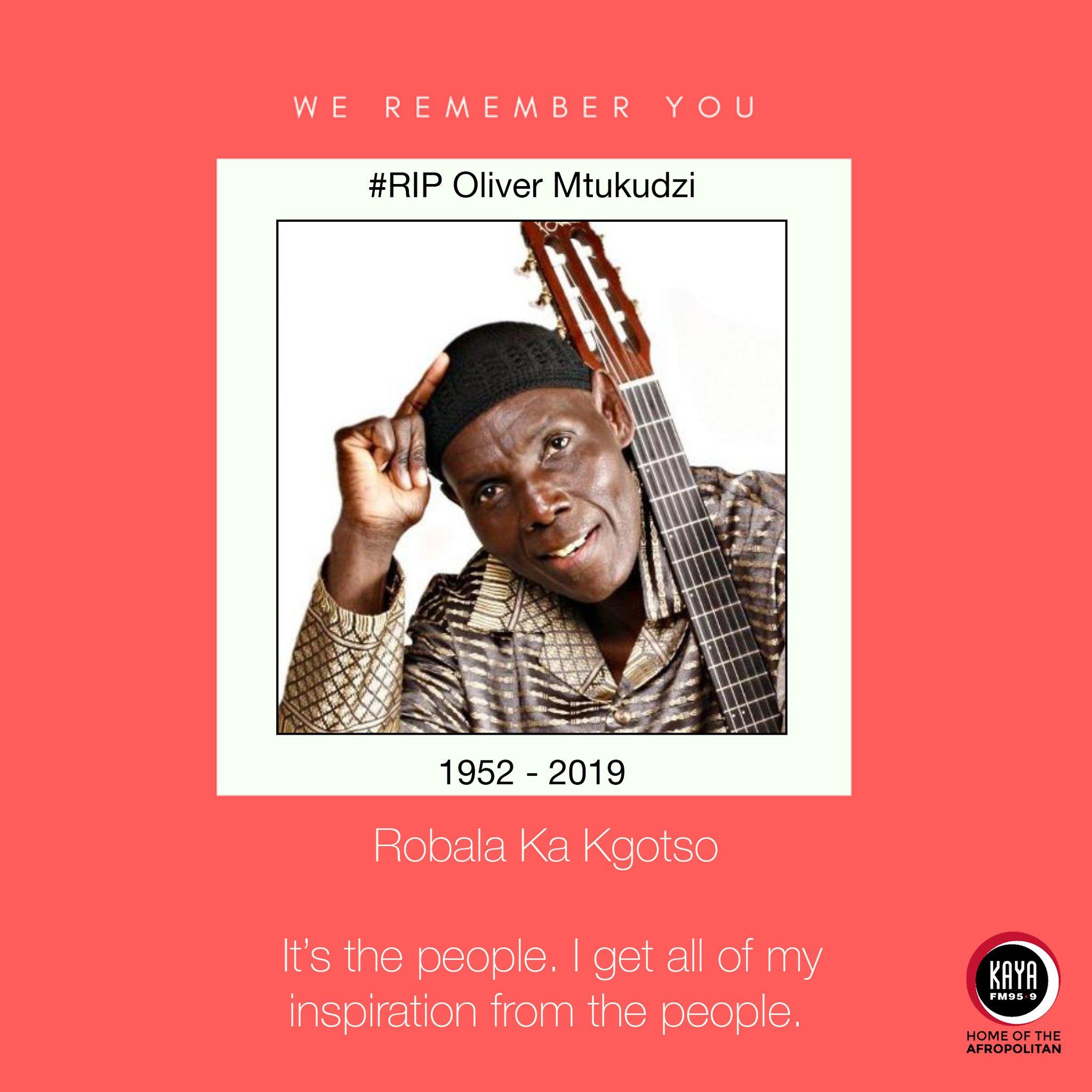Legendary Jazz musician Oliver 'Tuku' Mtukudzi has passed.