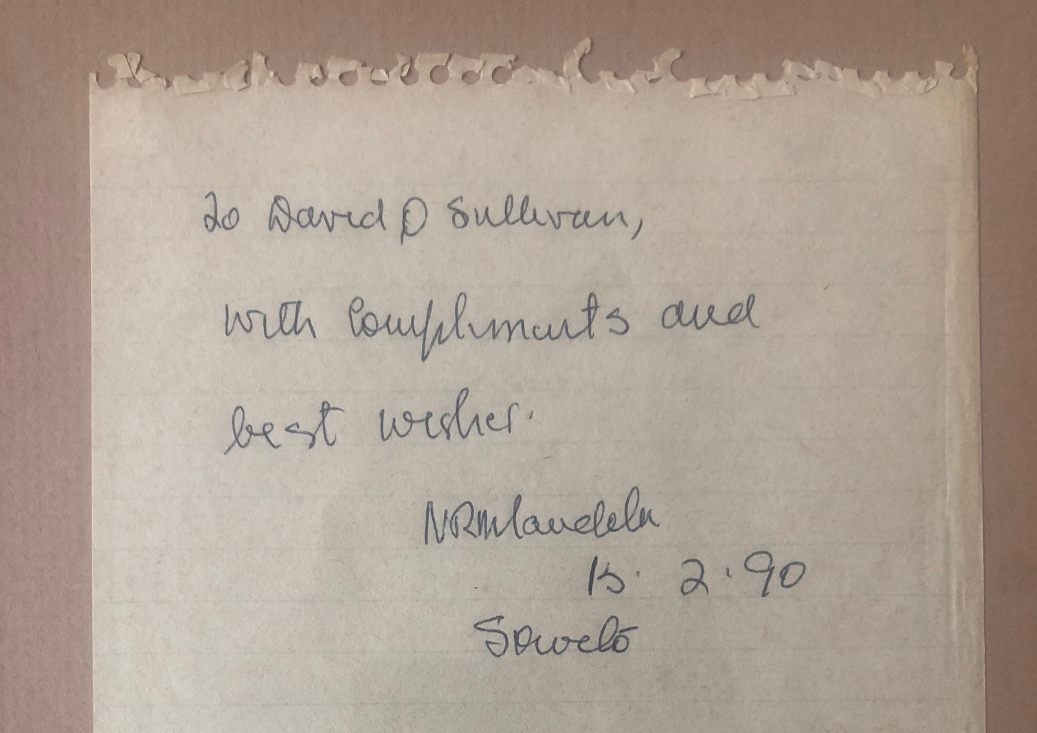 An encounter with President Nelson Mandela